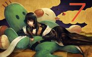 Gentiana with Cactuar and Moogle countdown artwork by Kaoru Kawaguchi