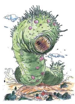 Abyss Worm artwork from Final Fantasy II by Yoshitaka Amano.