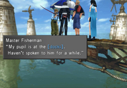 Master Fisherman asks the party to find his pupil from FFVIII R