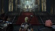 Protagonisten vor Garland auf einem Thron Stranger of Chaos Final Fantasy Origin