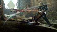 Protagonist im Nahkampf gegen einen Goblin