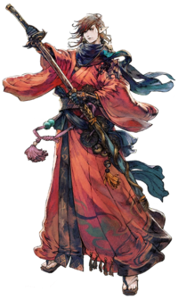 Artwork eines Elezen als Samurai.