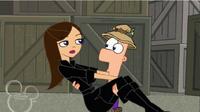 Ferb ratuje Vanessę przed upadkiem.