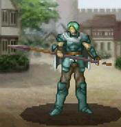 Dismounted commando Knight wielding lance