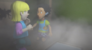 Sarah and Mandy trapped and surrounded by smoke