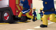 Firefighters get to the fire engines