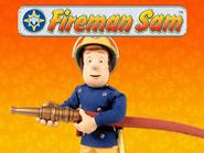 Sam with hose and logo