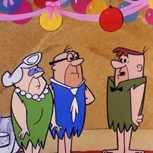 The Flintstones - Mr. and Mrs. Slate with Joe Rockhead in The Birthday Party.jpg