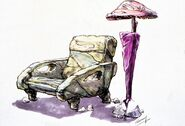 The Flintstones - 1994 Live Action Film - Concept Art by Tim Flattery - Chair and Lamp