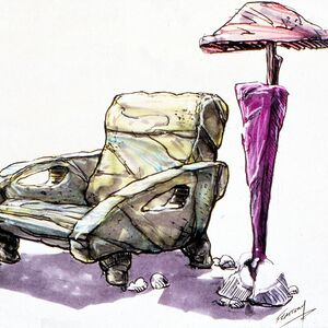 The Flintstones - 1994 Live Action Film - Concept Art by Tim Flattery - Chair and Lamp.jpg