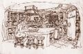 The Flintstones - 1994 Live Action Film - Concept Art by Marty Kline - Flintstones' House - Kitchen