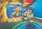 Flintstones and Rubbles in the Aquarium - Sericel Art