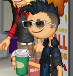 Rudy tomando café