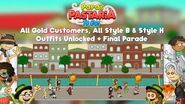 Papa's Pastaria To Go! All Gold Customers, All Style B & Style H Outfits Unlocked + Final Parade