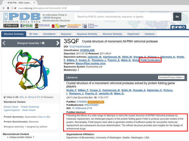 PDB page citing Foldit and the Contenders.