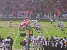 An American football game between the Kansas City Chiefs and Oakland Raiders
