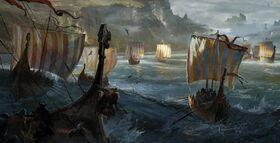 Vikings approaching the coast