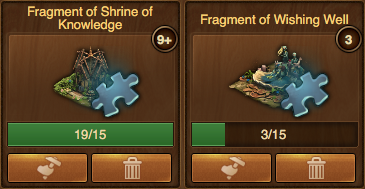 Fragments in inventory