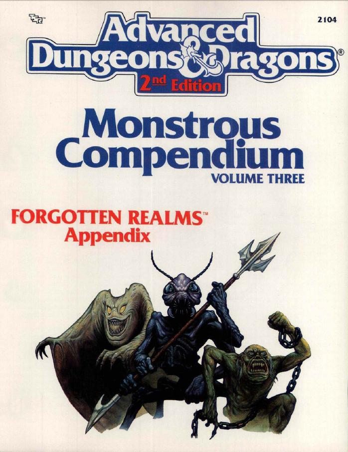 Monstrous Compendium Volume Three Forgotten Realms Appendix (MC3)