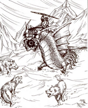 A resident of Ahtitlak attacking with a remorhaz companion.