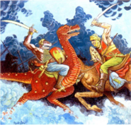 Firenewt and Giant Strider in Zakhara