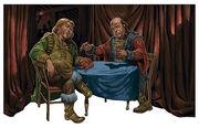 A pair of Luthbaernar merchants conducting business.
