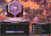 The picture depicts a Cult Device and a player interacting with the device with the options of attempting the roll or leaving the Cult Device. The 5 slot outcomes are Success, Success, +5 Damage, +5 Party Damage, and +1 Chaos.