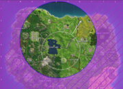Screenshot of the map showing a new storm circle fully contained within the current safe zone.