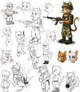 Cat soldier mockup