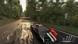 A convoy led by a Lamborghini Veneno in Forza Horizon 3.