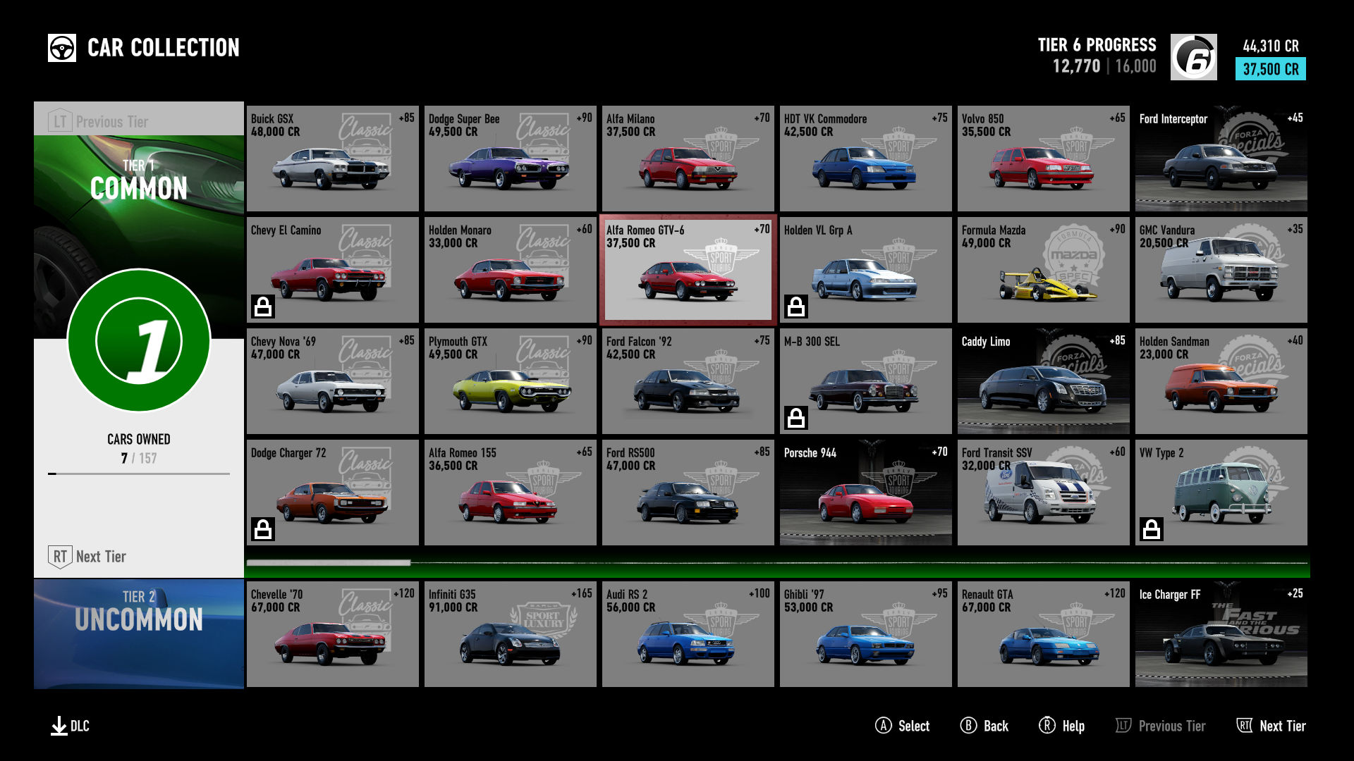 Forza Motorsport 7/Driver Level Milestone Rewards