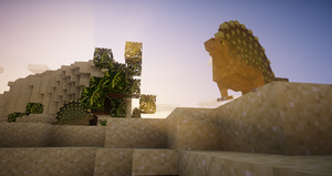 Edaphosaurus lounging about in a sunset.
