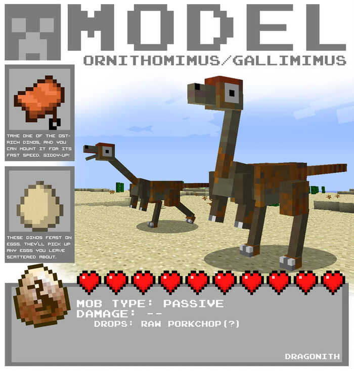 Minecraft ornithomimus by dragonith d4d1oh4-pre.jpg