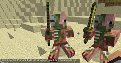 Two tamed zombie pigmen being ordered to sit.