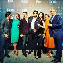 Upfronts 2017 Blair Redford, Amy Acker, Stephen Moyer, Sean Teale, Emma Dumont, Jamie Chung, and Coby Bell.jpg
