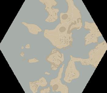 A map of The Oarbreaker Isles.