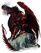 Mythic red dragon