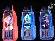 Ultraman Taiga Tri-Strium Hyper Key, Ultraman Mebius Hyper Key and Ultraman Orb Spacium Zeperion Hyper Key