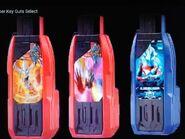 Ultraman Orb Burnmite Hyper Key, Ultraman Taiga Tri-Strium Hyper Key and Ultraman Mebius Hyper Key