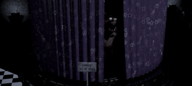 Foxy Looking Out From His Curtains.png