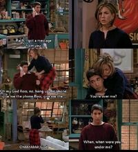 Friends-Ross & Rachel collage with him asking when she got over him
