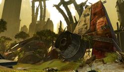 Ruines de l'Endar Spire, durant la Guerre Froide entre l'Empire Sith et la République Galactique.