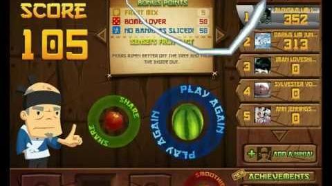 How to get 100+ Bonus Point in Fruit Ninja for arcade mode (noob way)