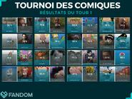 Tournoi de Comiques Tour 1 Résultats