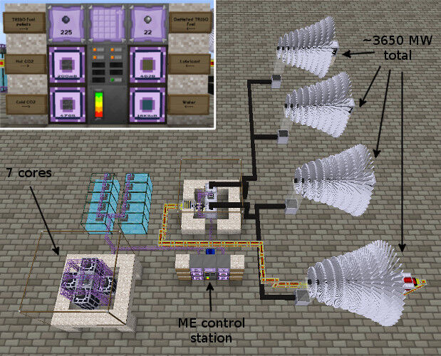 Figure 3, A quadruple turbine reactor, using an ME network for storage and most plumbing. I had to split up the steam lines per boiler to get them to play nice.