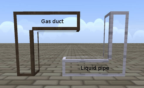 Figure 4, Gas ducts and liquid pipes.