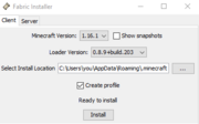 Jar Fabric Installer Window with default settings