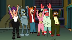 Leela, Bender, Fry, Amy, Zoidberg ed Hermes