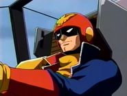 Falcon in his vehicle