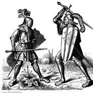 Zwei Ritter im Kampf